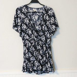 Entro Blue and White Floral Romper